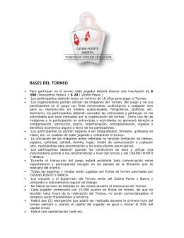 BASES DEL TORNEO - Bienvenidos a Casino Punto y Banca SA