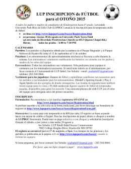 LUP INSCRIPCION de FÚTBOL para el OTOÑO 2015