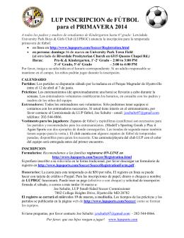 LUP INSCRIPCION de FÚTBOL para el PRIMAVERA 2014