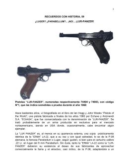 "RECUERDOS CON HISTORIA, 59 Pistolas ""LUR"