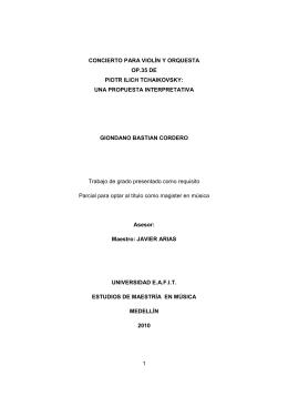 CONCIERTO PARA VIOLIN Y ORQUESTA OP.35 DE PIOTR ILICH