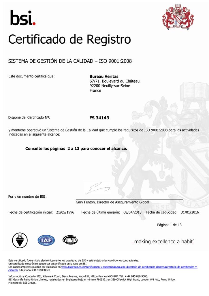 certificado de registro bureau veritas argentina. Black Bedroom Furniture Sets. Home Design Ideas