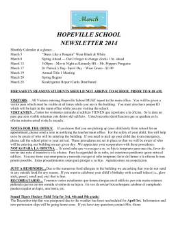 HOPEVILLE SCHOOL NEWSLETTER 2014