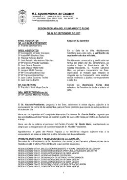 Pleno ordinario del 28 de septiembre