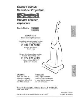 Owner`s Manual Manual Del Propietarie Vacuum Cleaner Aspiradora