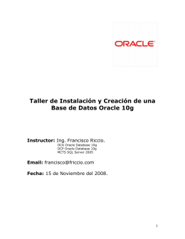 Taller de Instalacion y Creacion de una Base de Datos Oracle 10g