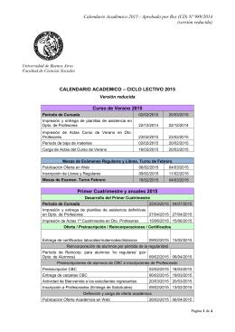 Calendario Académico 2015 - Universidad de Buenos Aires