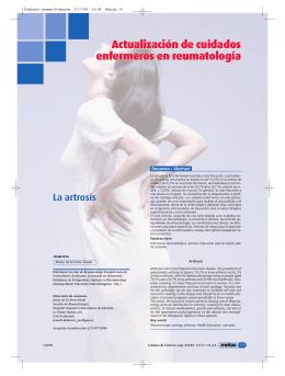 Actualización de cuidados enfermeros en reumatología