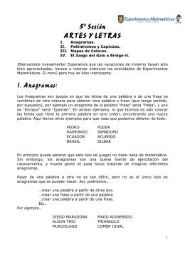 5º Sesión ARTES Y LETRAS I. Anagramas: