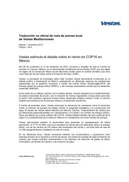 Vestas estimula el debate sobre el viento en COP16 en México