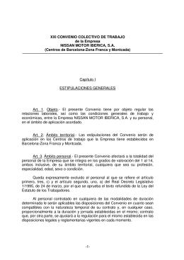 XXI CONVENIO COLECTIVO DE TRABAJO de la Empresa NISSAN