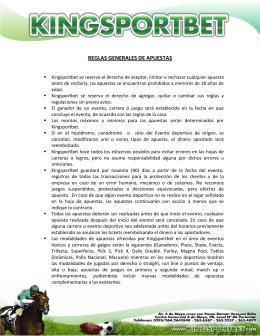 REGLAS GENERALES DE APUESTAS