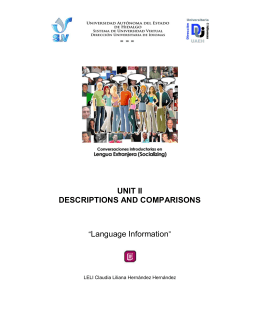 "UNIT II DESCRIPTIONS AND COMPARISONS ""Language Information"""