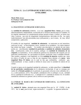 TEMA 11. LA CANTIDAD DE SUBSTANCIA. CONSTANTE DE