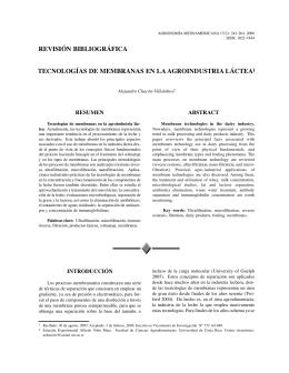 Tecnologías de membranas en la agroindustria láctea.