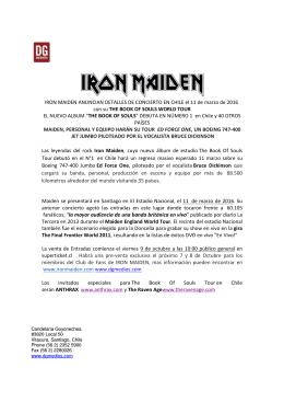 IRON MAIDEN ANUNCIAN DETALLES DE CONCIERTO EN CHILE
