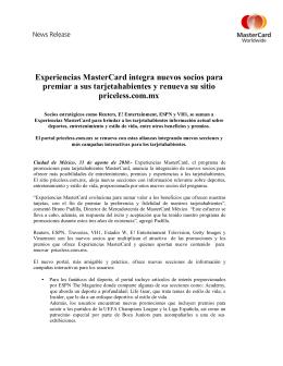 Experiencias MasterCard integra nuevos socios para premiar a sus