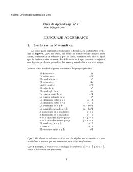 LENGUAJE ALGEBRAICO 1. Las letras en Matemática Guía de
