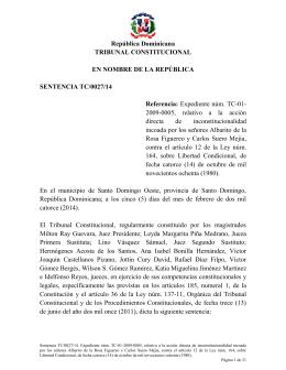 Sentencia TC 0027-14 C - Tribunal Constitucional de la