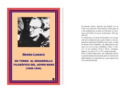 En torno al desarrollo filosófico del joven Marx
