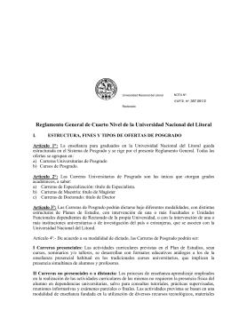 Reglamento General de Cuarto Nivel de la UNL