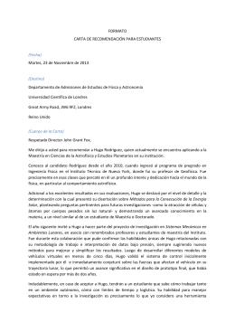 CARTA DE RECOMENDACIÓN PARA ESTUDIANTES
