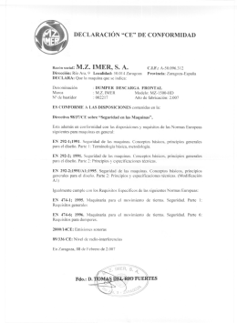 """DECLARACIÓN """"CE"""" DE CONFORMIDAD Razón social: M.Z. IMER"""