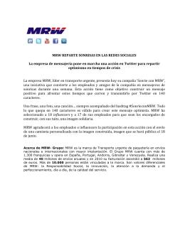 MRW REPARTE SONRISAS EN LAS REDES SOCIALES La