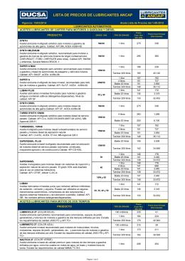 LISTA DE PRECIOS LUBES ANCAP 15-3-2014