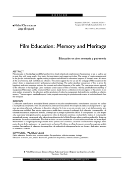 Film Education: Memory and Heritage