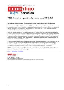 CCOO denuncia la supresión del programa `Línea 900` de TVE