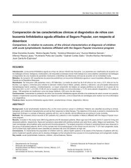 Comparación de las características clínicas al diagnóstico