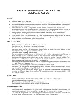 Instructivo para la elaboración de los artículos de la Revista Cenicafé