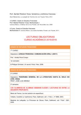 lectura obligatorias filología francesa curso 2015/16