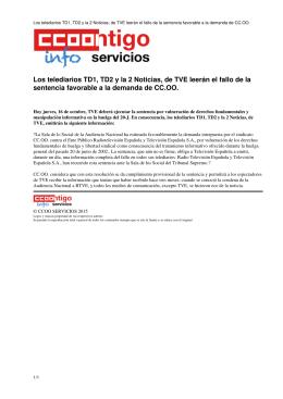 Los telediarios TD1, TD2 y la 2 Noticias, de TVE leerán el fallo de la