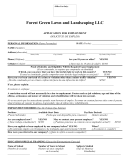 Forest Green Application for Employment
