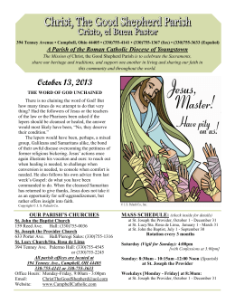 October 13, 2013 - Christ, the Good Shepherd Parish of Campbell