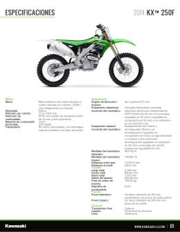 ESPECIFICACIONES KX™250F 2014