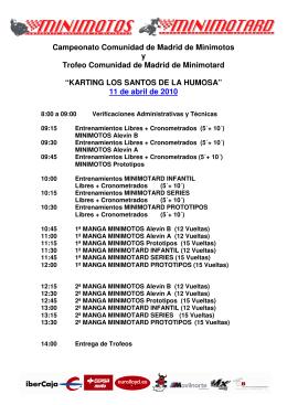 horario minimotos santos de la humosa 11 de abril de 2010