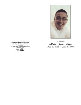 Mario Jesus Reyes - Demaray Funeral Service