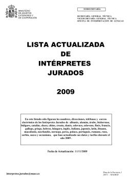 Lista Actualizada de Intérpretes Jurados