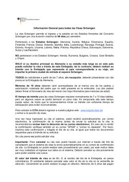 Información general para todas las Visas Schengen