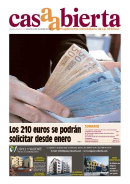 Los 210 euros se podrán solicitar desde enero
