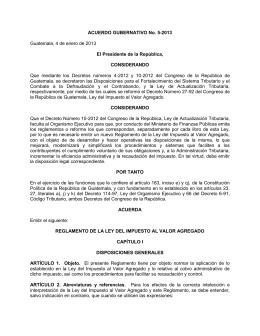 ACUERDO GUBERNATIVO No. 5-2013 Guatemala, 4 de enero de