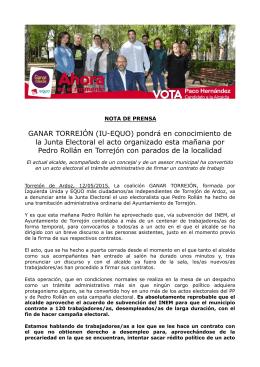 GANAR TORREJÓN denunciará ante la JEZ un acto electoralista de