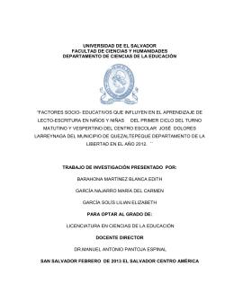 """""""FACTORES SOCIO-EDUCATIVO QUE INFLUYEN EN EL"""
