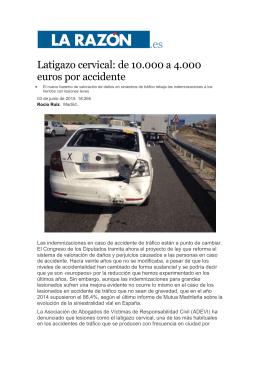 Latigazo cervical: de 10.000 a 4.000 euros por accidente