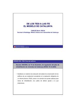 DE LOS TEDI A LAS ITE EL MODELO DE CATALUNYA