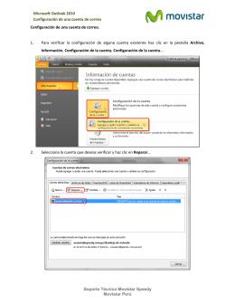 Microsoft Outlook 2010 Configuración de una cuenta de correo