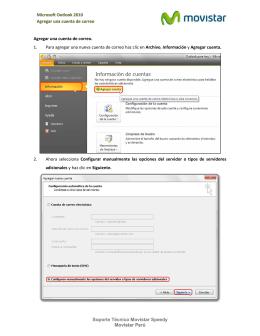 Microsoft Outlook 2010 Agregar una cuenta de correo